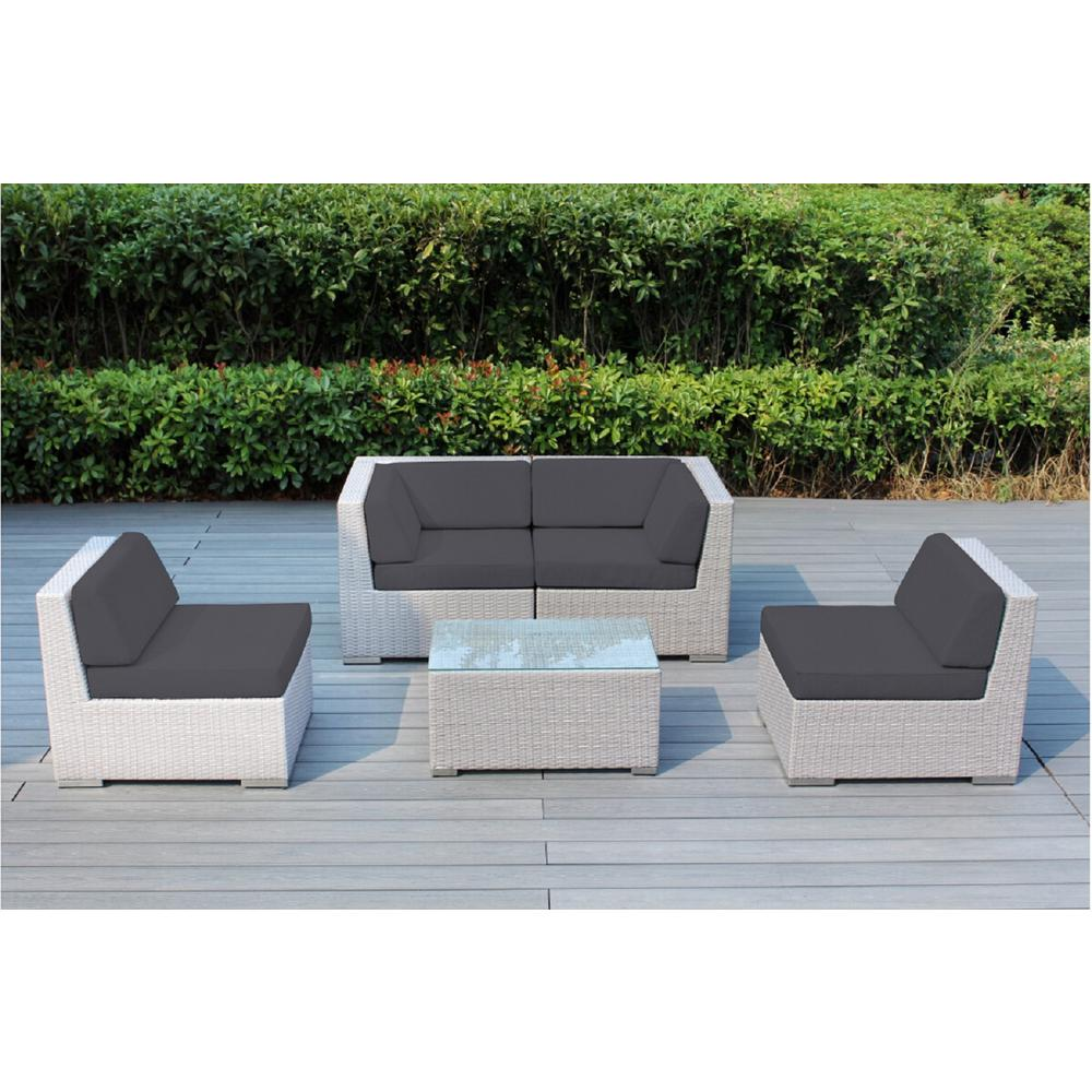 Ohana Depot Gray 5 Piece Wicker Patio Seating Set With