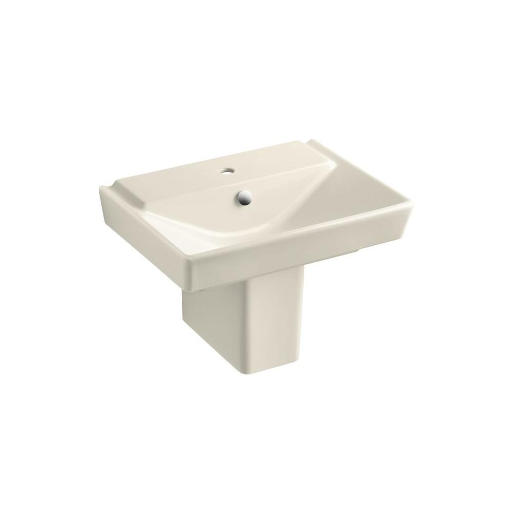 Reve Semi Ceramic Pedestal Combo Bathroom Sink in Almond with Overflow