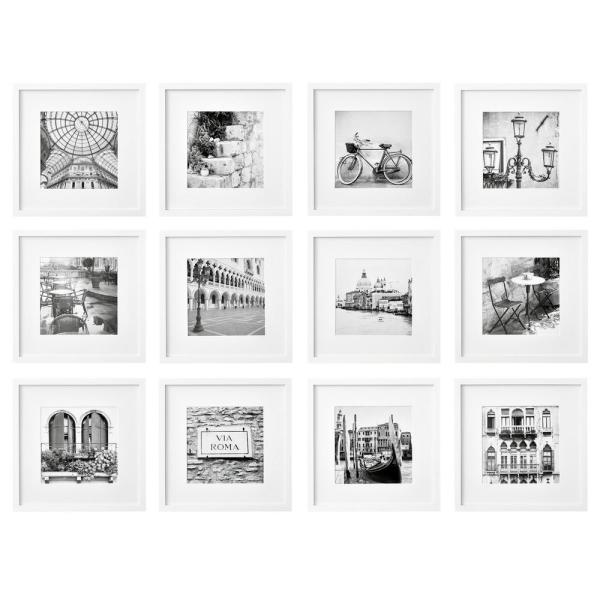 Pinnacle Gallery Perfect 8 in. x 8 in. White Collage Picture Frame Set