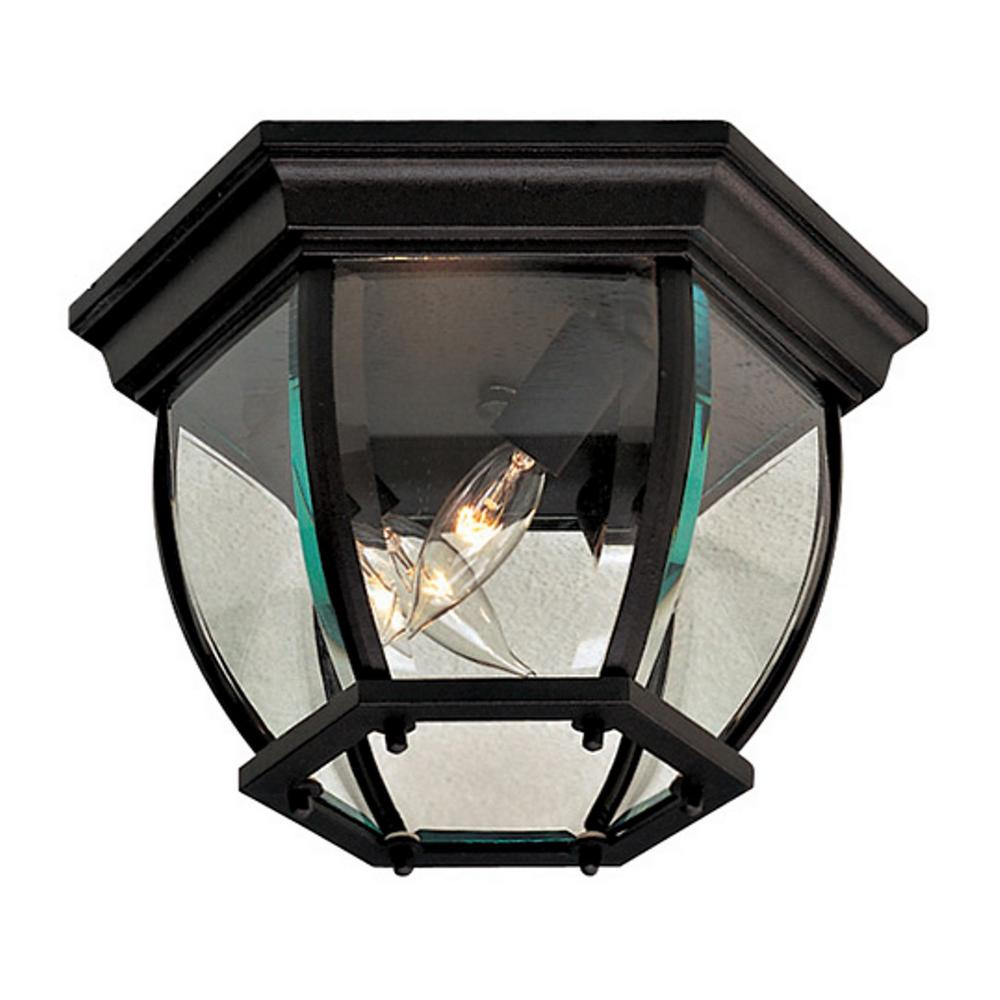 Minka Lavery Wyndmere Black 3-Light Outdoor Flush Mount