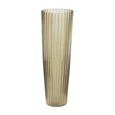 24 in. Champagne Fizz Fluted Glass Decorative Vase in Champagne Gold