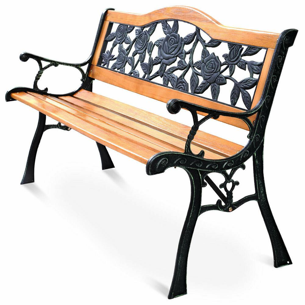 Superb Costway Patio Park Garden Bench Porch Path Chair Furniture Cast Iron Hardwood Caraccident5 Cool Chair Designs And Ideas Caraccident5Info