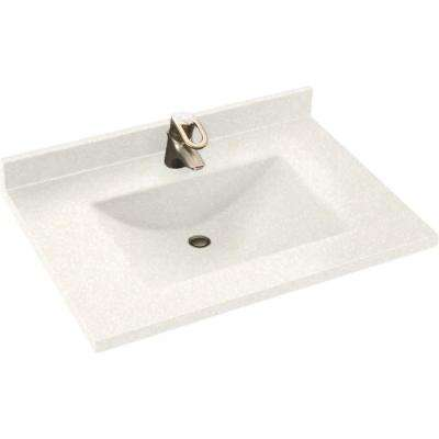 Freedomline 37 in. W x 22 in. D Solid Surface Pocket Vanity Top Kit with Sink in Tahiti White
