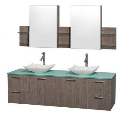 Amare 72 in. Double Vanity in Gray Oak with Glass Vanity Top in Green, Marble Sinks and Medicine Cabinet