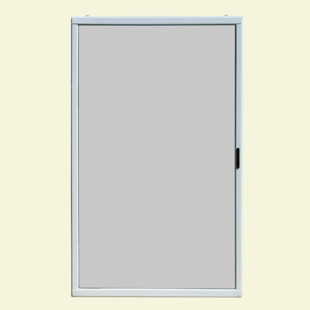 Unique Home Designs 48 In X 80 In Ultimate White Vinyl Sliding Patio Screen Door Ispv600048wht