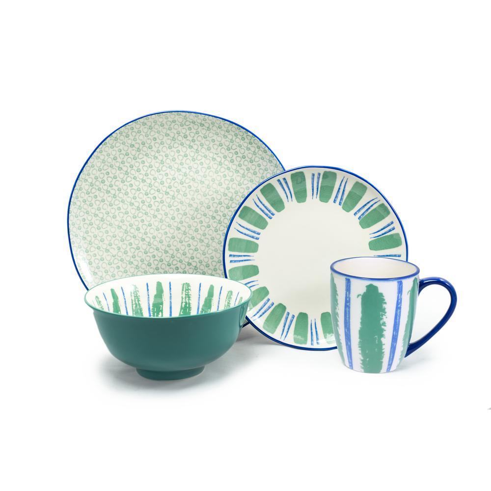 16 Piece Green Sonia Dinnerware Set