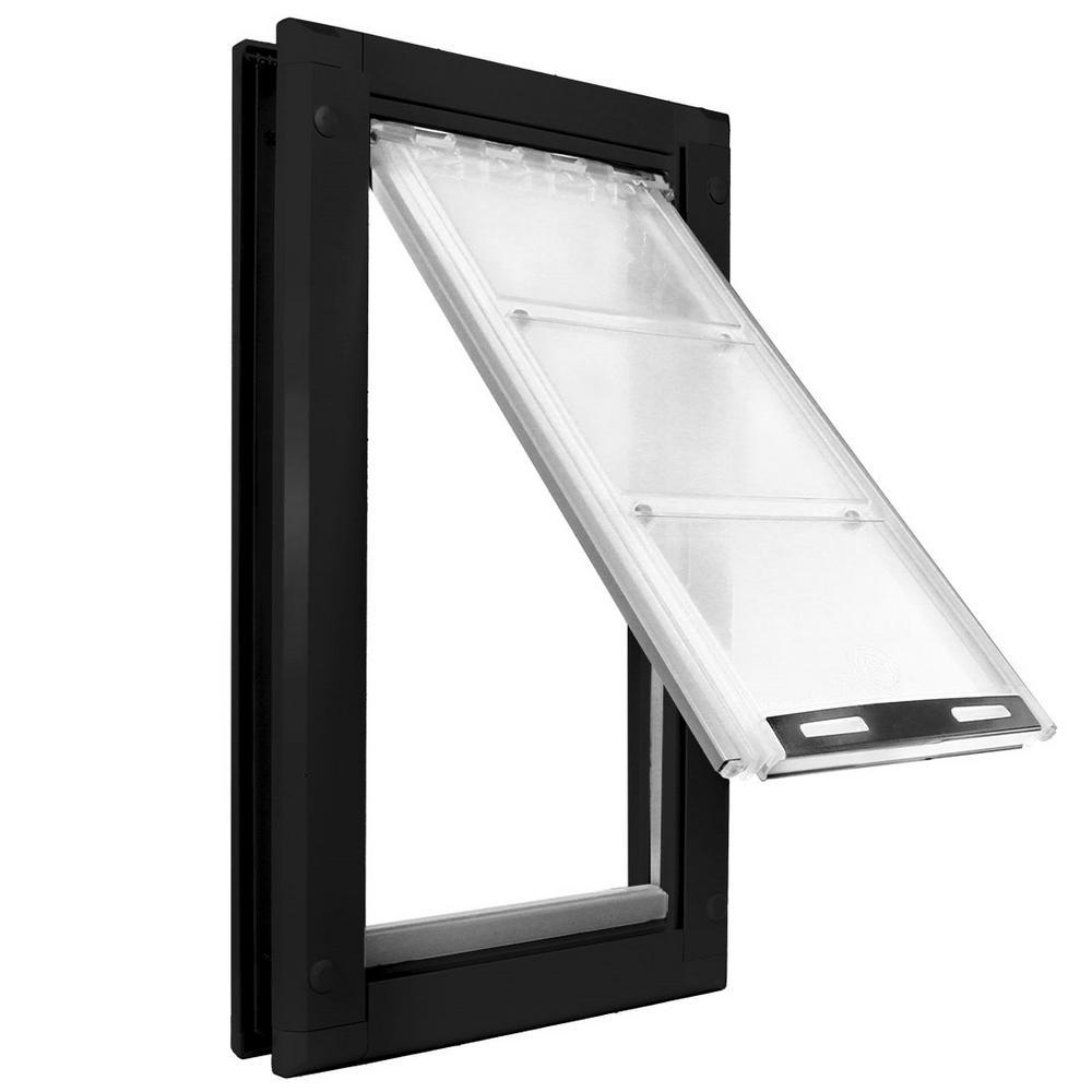 8 in. x 15 in. Medium Single Flap for Doors Pet Door with Black Aluminum Frame