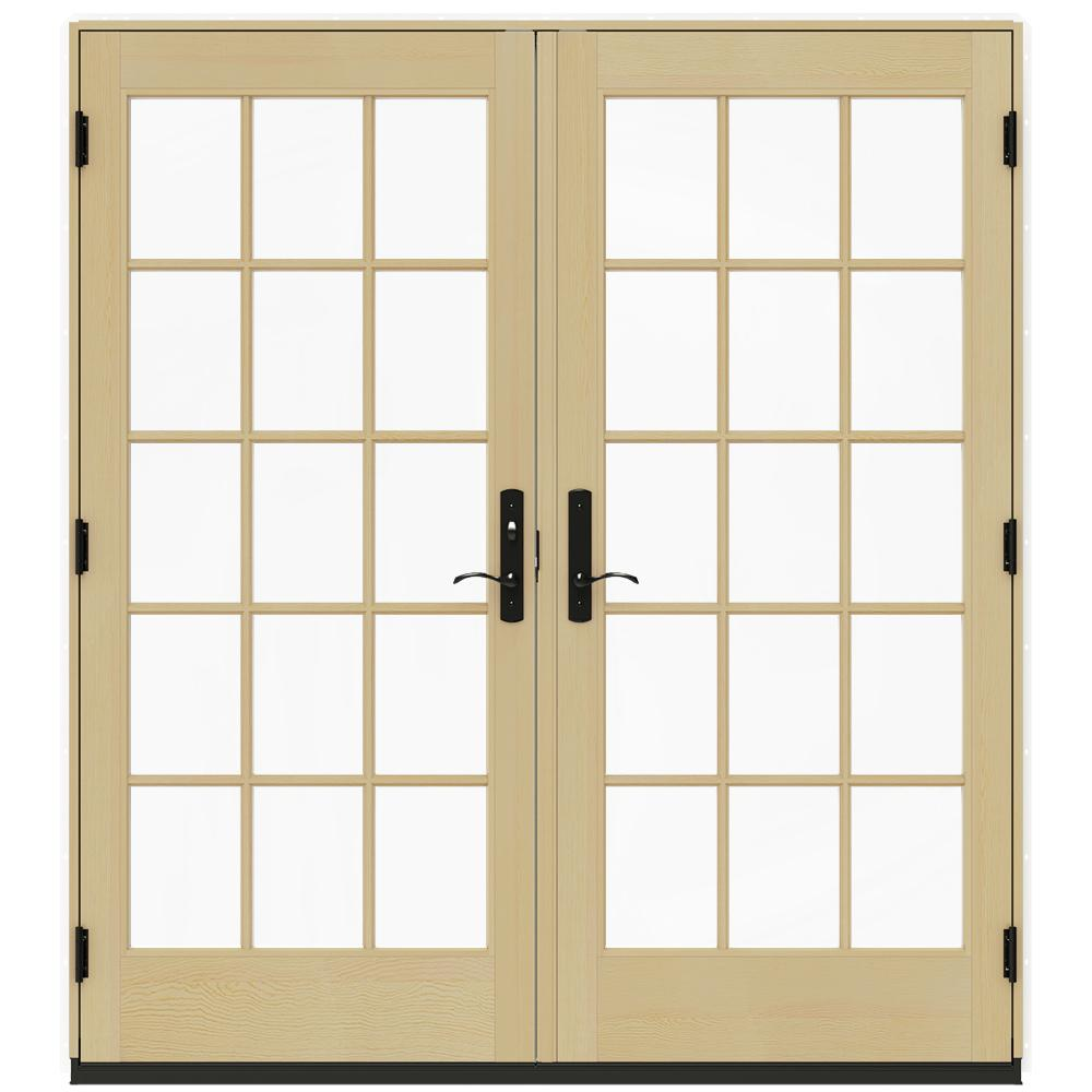 Jeld Wen 72 In X 80 In W 4500 White Prehung Right Hand Inswing French Patio Door With