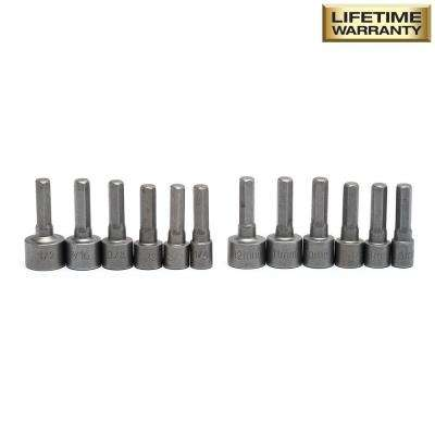 1/4 in. Drive SAE/Metric Nut Setter Bit Set (12-Piece)