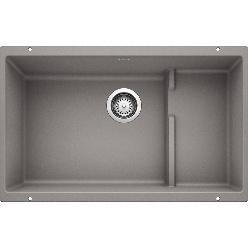 Blanco Precis Cascade Undermount Granite Composite 29 In Single Bowl Kitchen Sink With Mesh Colander Metallic Gray