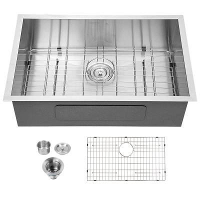 Silver 18-Gauge Stainless Steel 27 in. Single Bowl Undermount Kitchen Sink