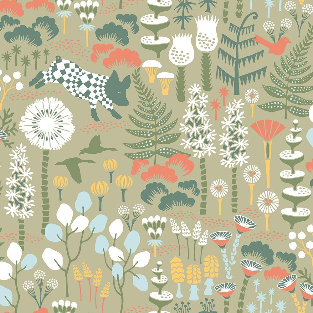57.8 sq. ft. Hoppet Green Folk Wallpaper