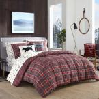 3-Piece Red Timber Tartan Polyester King Comforter Set