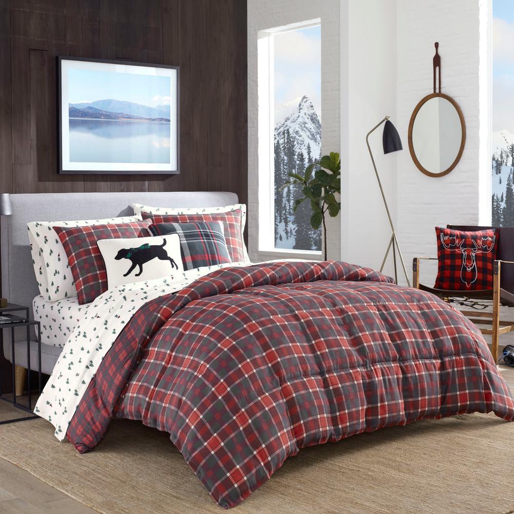 Timber Tartan 3-Piece Red Plaid Full/Queen Comforter Set