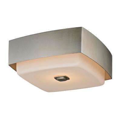 Allure 2-Light Silver Leaf Square Flush Mount with Opal White Glass Shade