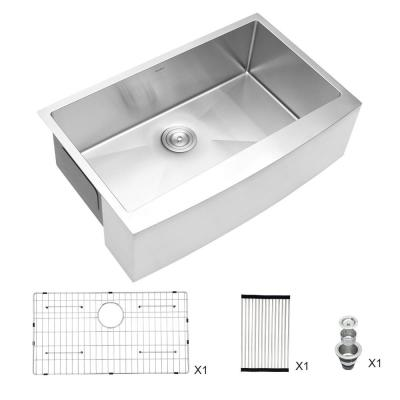 Acreman 16-Gauge Stainless Steel Basin 30 in. Single Bowl Farmhouse Apron Front Kitchen Sink with Drain Strainer