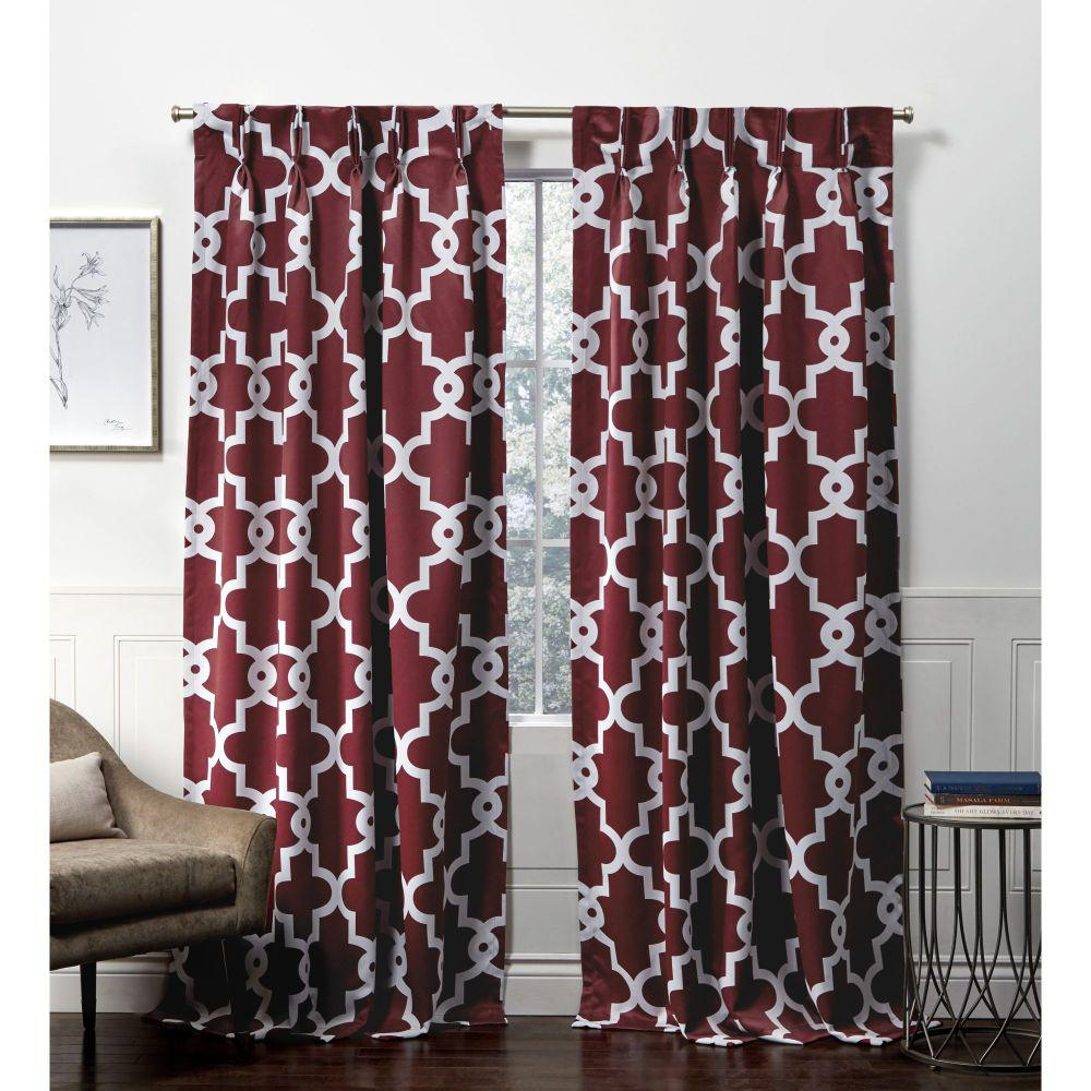 Exclusive Home Curtains Ironwork PP Burgundy Blackout Triple Pinch Pleat Top Curtain Panel - 27 in. W x 84 in. L (2-Panel)