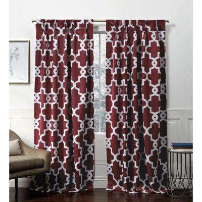Ironwork PP Burgundy Blackout Triple Pinch Pleat Top Curtain Panel - 27 in. W x 84 in. L (2-Panel)