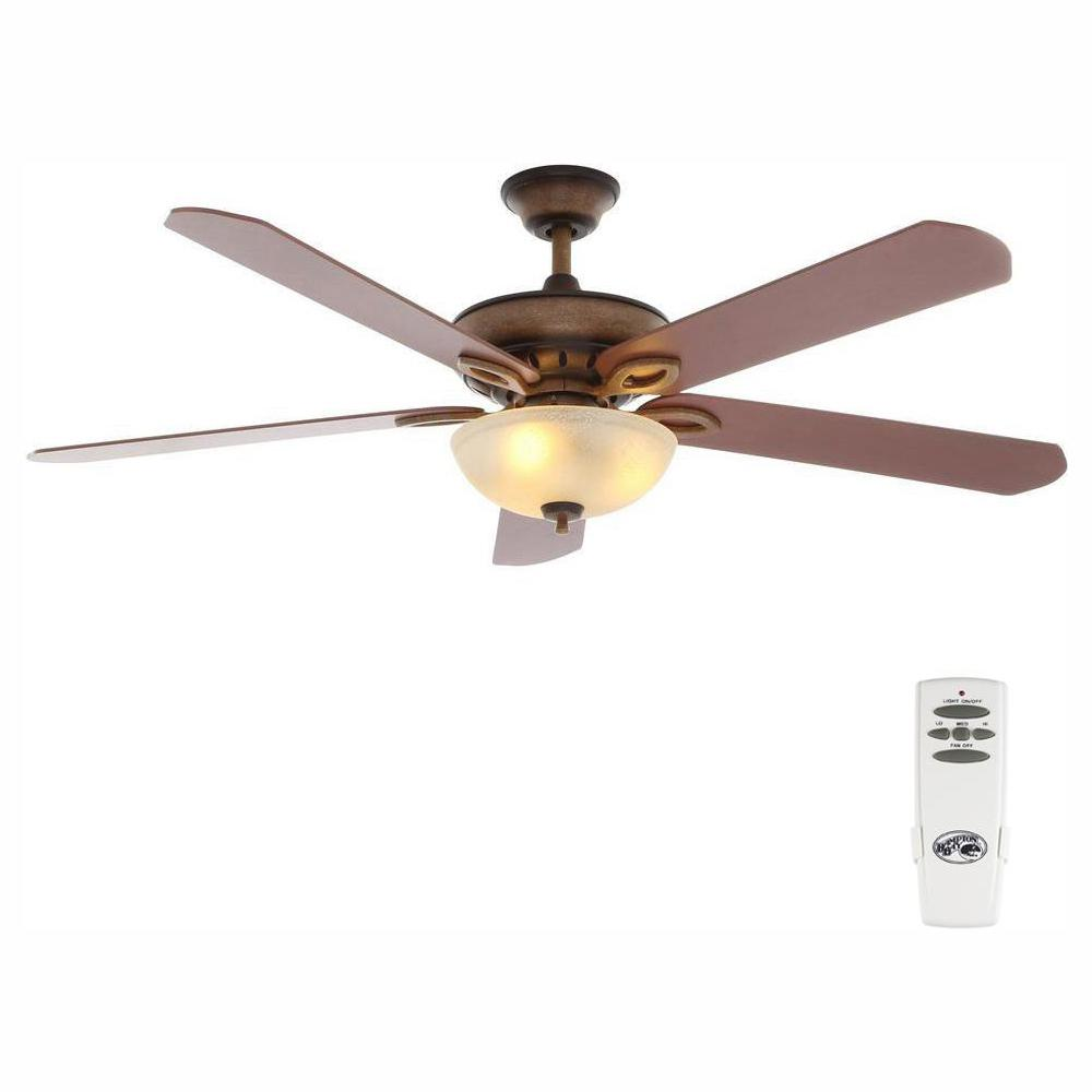 Hampton Bay Asbury 60 in. LED Indoor Oil Rubbed Bronze Ceiling Fan on