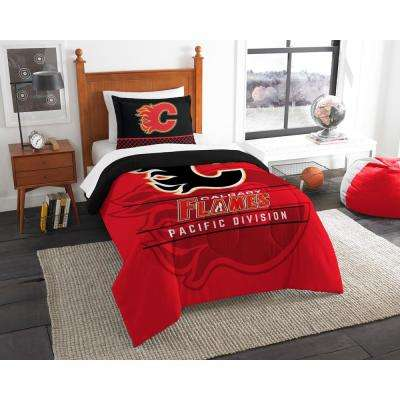 Flames Draft 2-Piece Multi Color Polyester Twin Comforter Set