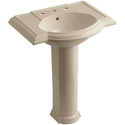 Devonshire Vitreous China Pedestal Combo Bathroom Sink in Mexican Sand with Overflow Drain