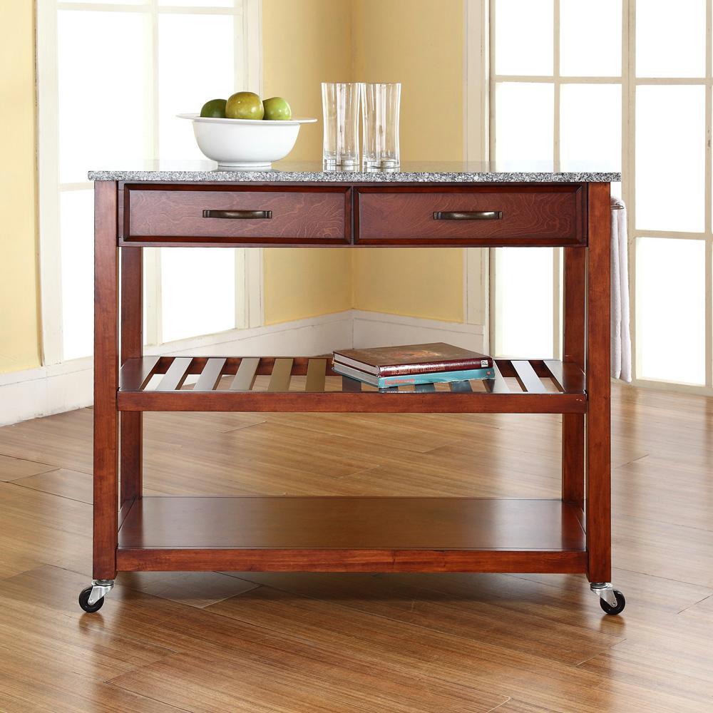 Crosley Cherry Kitchen Cart With Granite Top KF30053CH