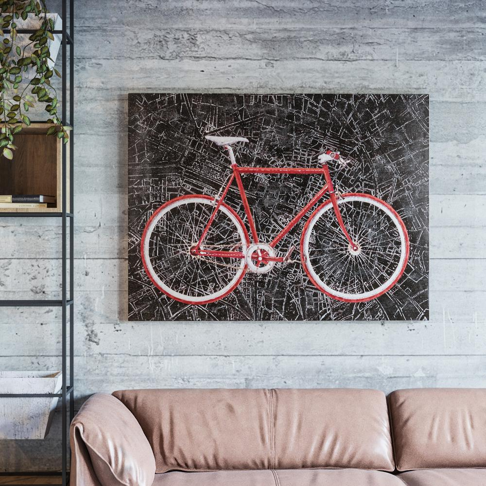 Yosemite Home Decor 36 In X 48 City Cycling Hand Painted