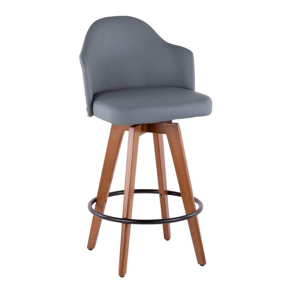 Ahoy 26 in. Walnut and Grey Faux Leather Counter Stool with