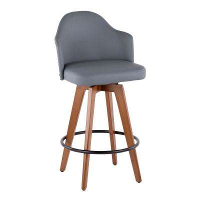 Ahoy 26 in. Walnut and Grey Faux Leather Counter Stool with Nailhead Trim