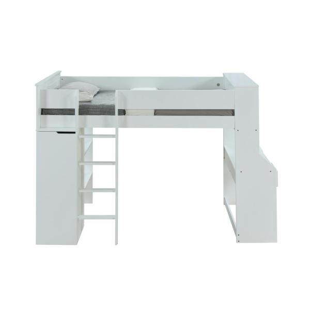 Acme Furniture Adams Antique Oak And Gunmetal Ragna White Twin Loft Bed