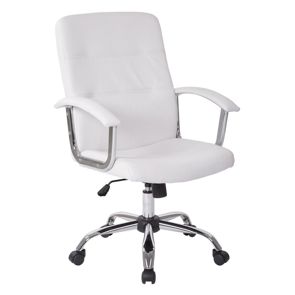 Home Depot Office Chairs: Ave Six Malta White Office Chair-MAL26-WH