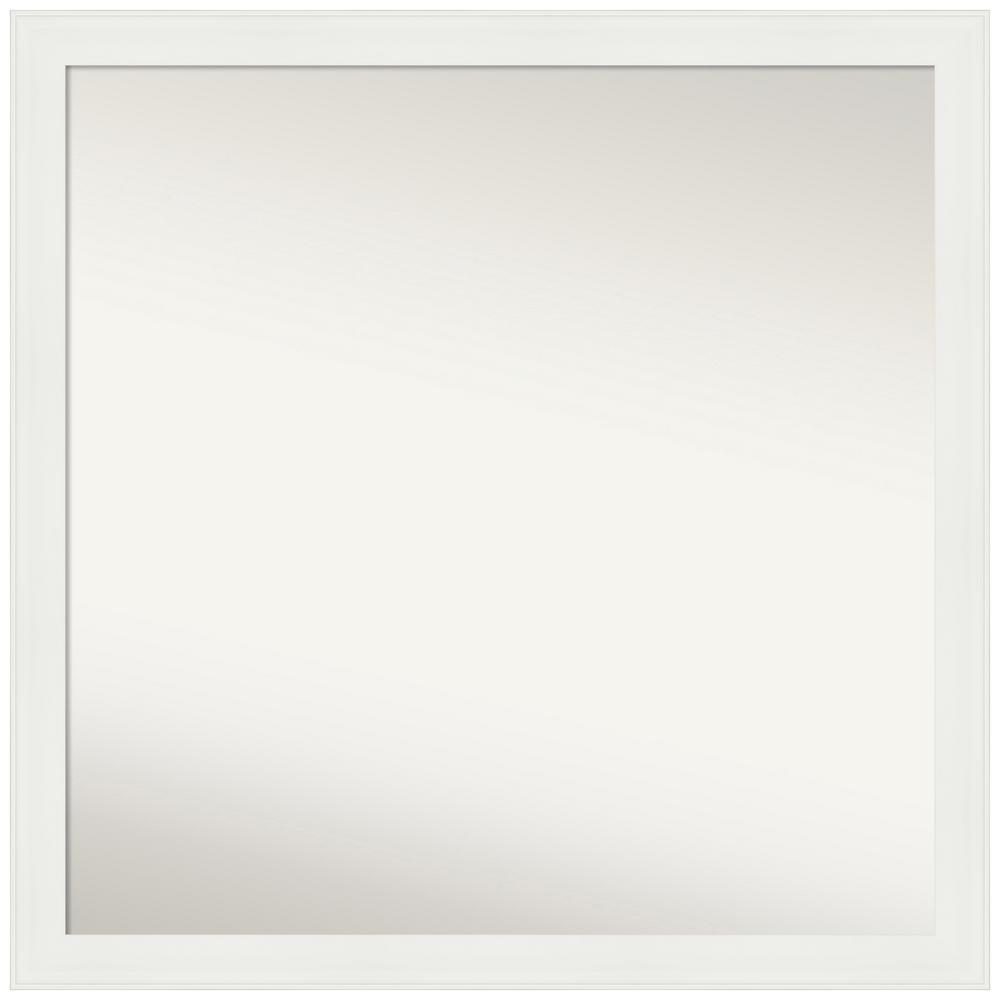 Medium Square Matte White Casual Mirror (35.38 in. H x 35.38 in. W)