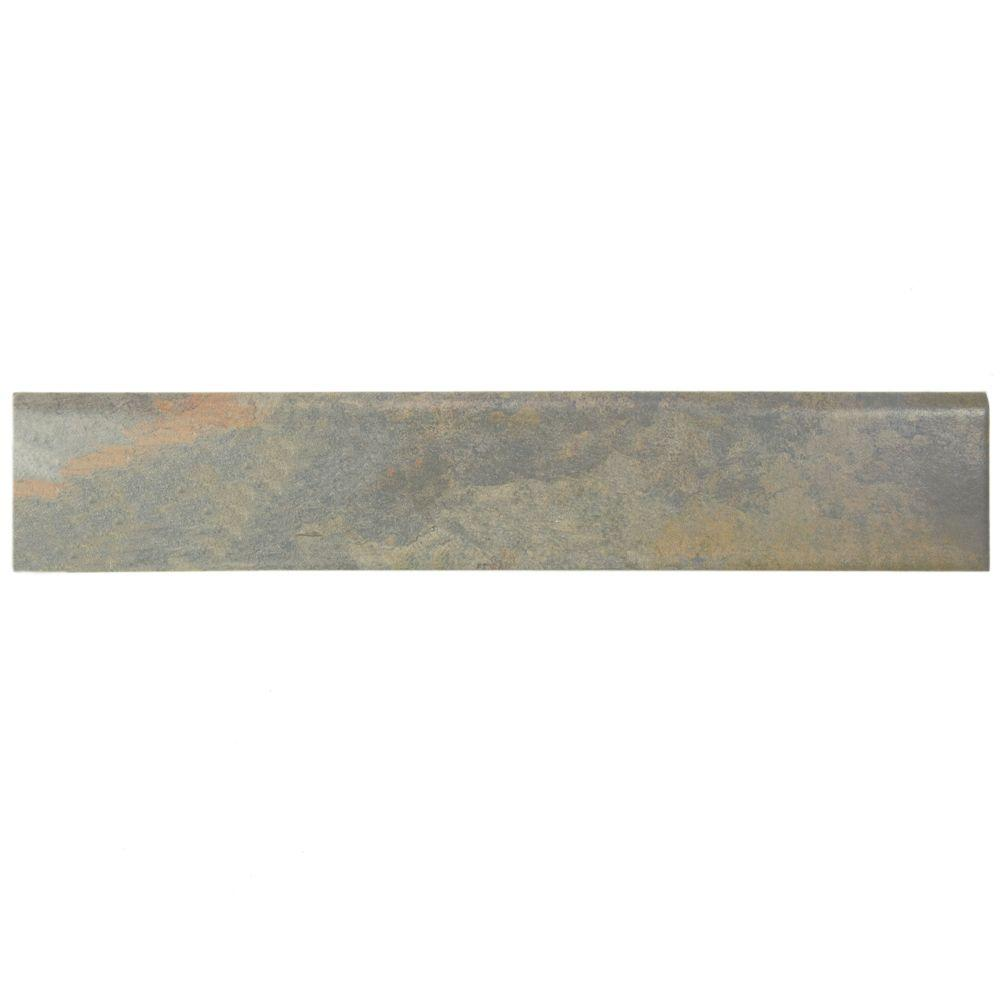 Ardesia Gris 3-1/8 in. x 17-1/2 in. Porcelain Bullnose Floor and