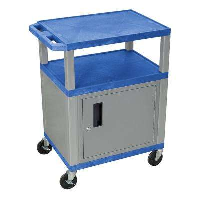 WT 34 in. A/V Cart With Nickel Colored Cabinet, Blue Shelves