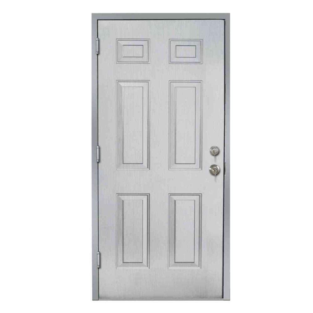 36 in. x 80 in. Gray Left-Hand 6-Panel Security Steel Prehung