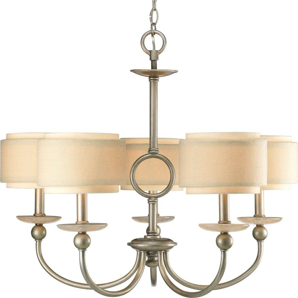 Ashbury Collection 5-Light Silver Ridge Chandelier with Shade with Toasted Linen