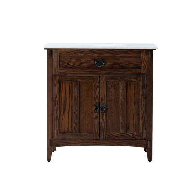 Artisan 33 in. W Vanity in Dark Oak with Natural Marble Vanity Top in White with White Basin