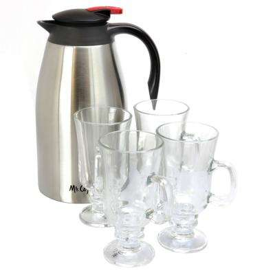 Galion 64 oz. Stainless Steel Coffee Pot with Glass Pedestal Coffee Mugs