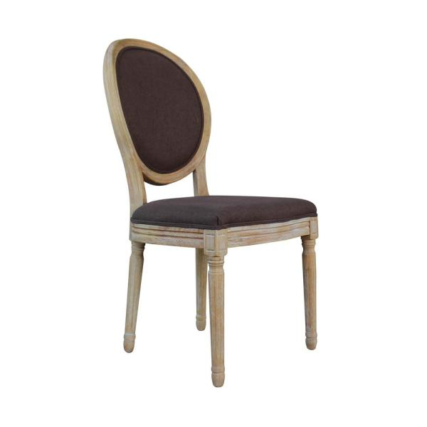 Brown Upholstered Dining Chair French Retro Oval Back Side Chair (Set of 2)