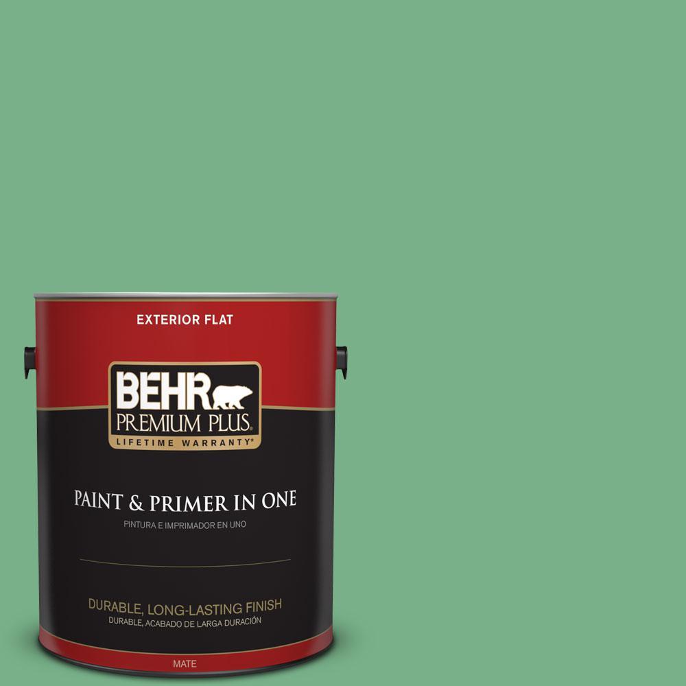 BEHR Premium Plus 1-gal. #M410-5 Green Bank Flat Exterior Paint