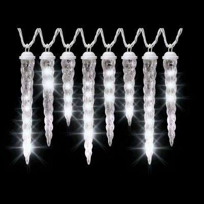 8-Light White Shooting Star Varied Size Icicle Light Set