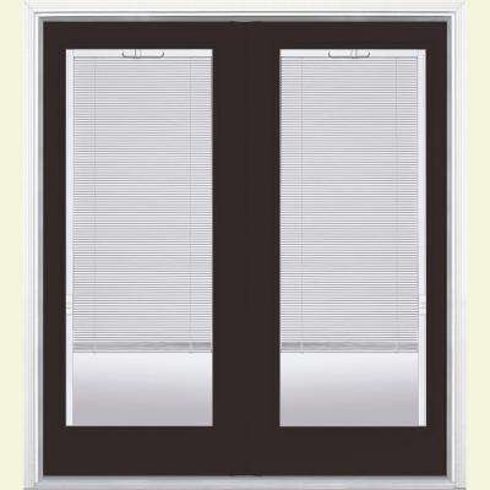 72 in. x 80 in. Willow Wood Fiberglass Prehung Right-Hand Inswing Mini Blind Patio Door w/ Brickmold, Vinyl Frame