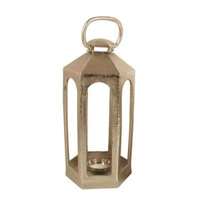 25 in. Hexagonal Casted Lantern in Nickel Plated Finish