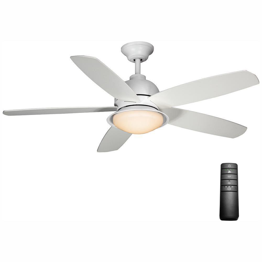 Home Decorators Collection Ackerly 52 in. Integrated LED Indoor/Outdoor Matte White Ceiling Fan with Light Kit and Remote Control