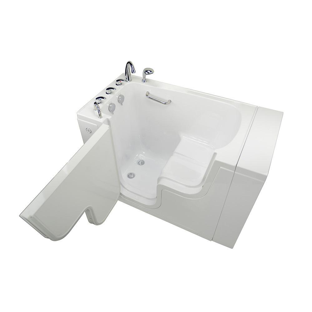 Wheelchair Transfer 52 in. Acrylic Walk-In MicroBubble Air Bath Bathtub in White, Faucet Set, Heated Seat, LH Dual Drain