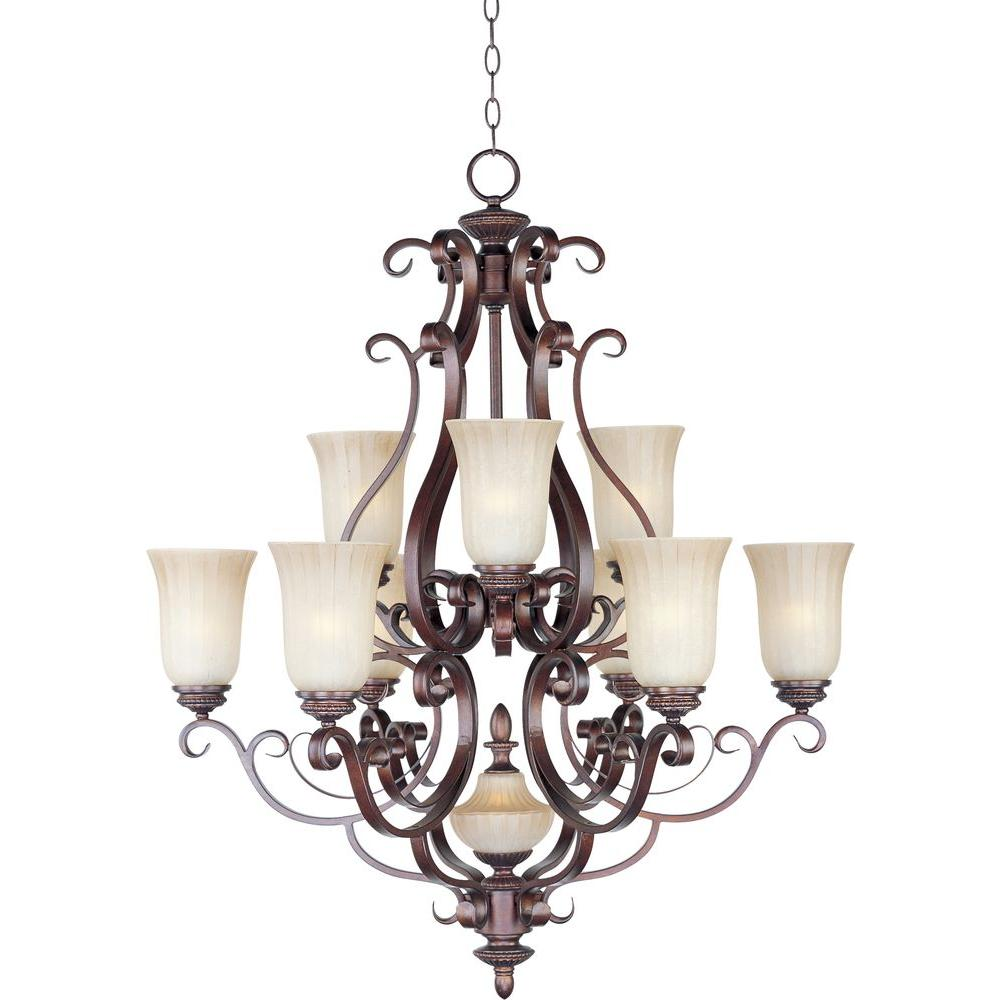 Oriax 10-Light 42 in. Multi-Tier Chandelier Henna Finish Mocha Cloud Glass Shade-DISCONTINUED