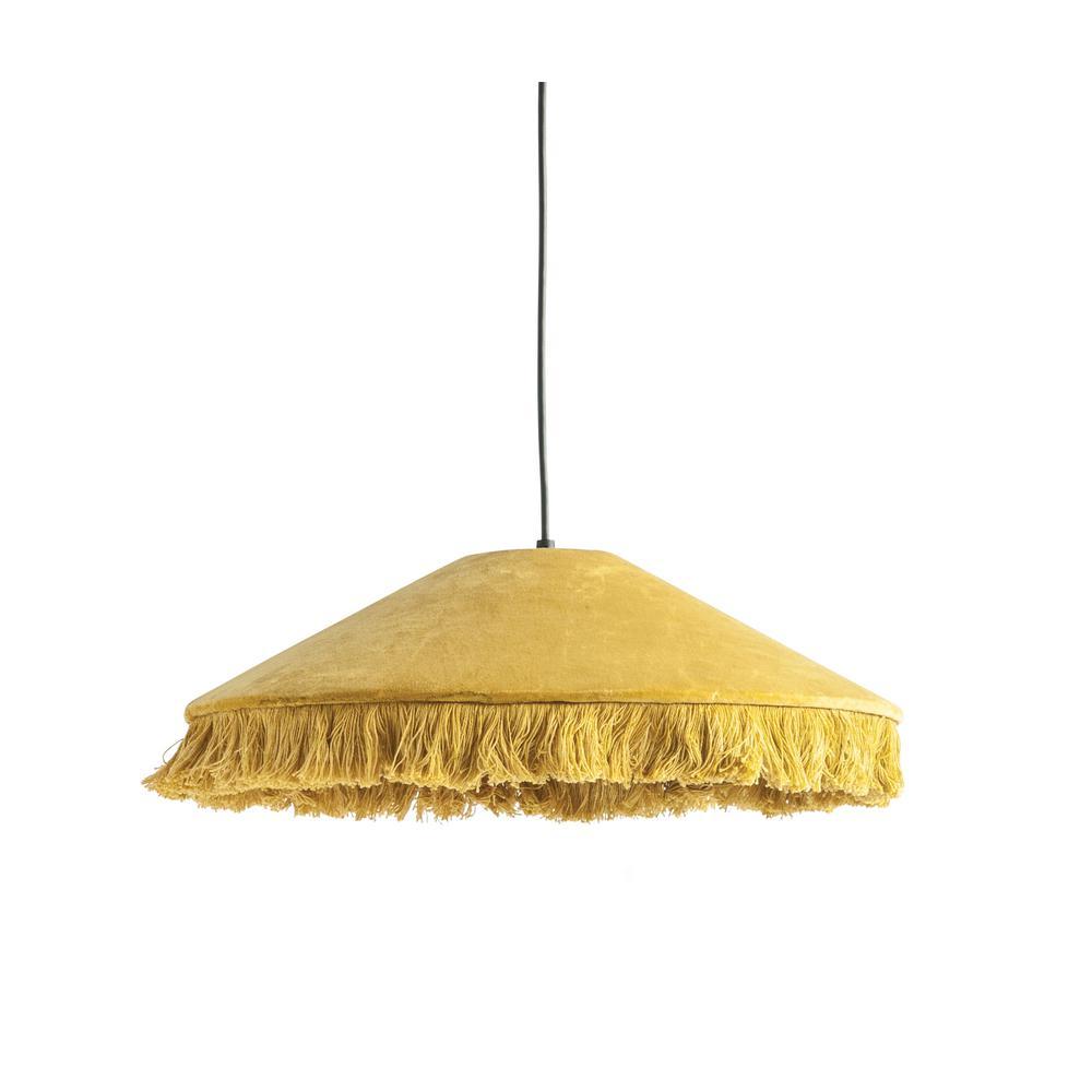 1-Light Mustard Yellow Pendant Light with Velvet Shade