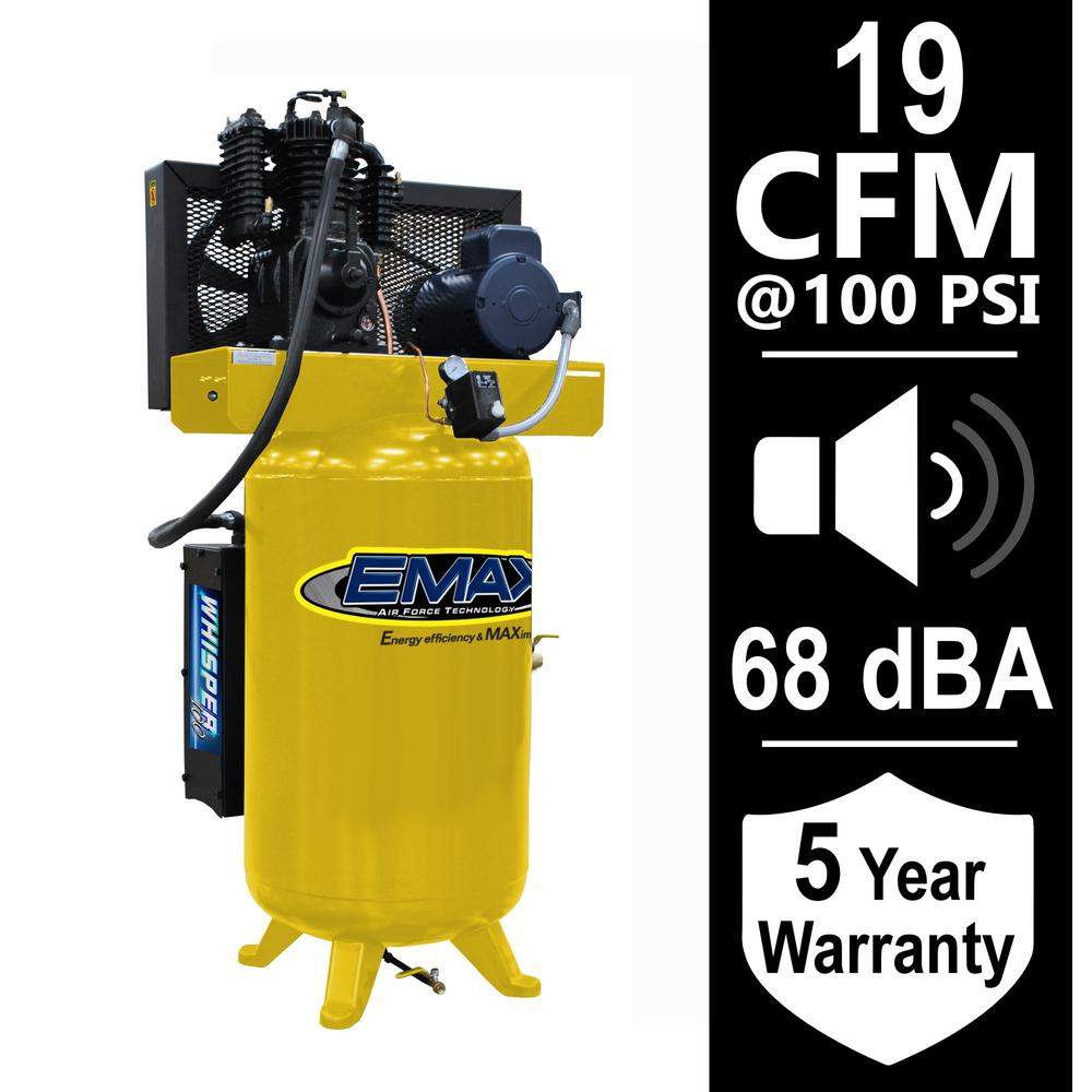 EMAX Industrial Series 80 Gal. 5 HP 1-Phase Silent Air Electric Air Compressor with pressure lubricated pump
