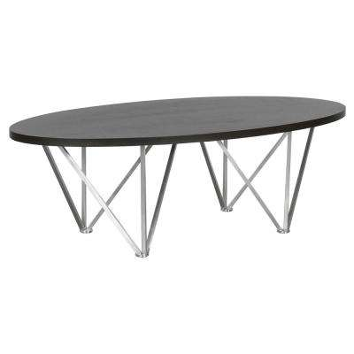 Armen Living Grey Wood Top Contemporary Oval Coffee Table in Brushed Stainless Steel