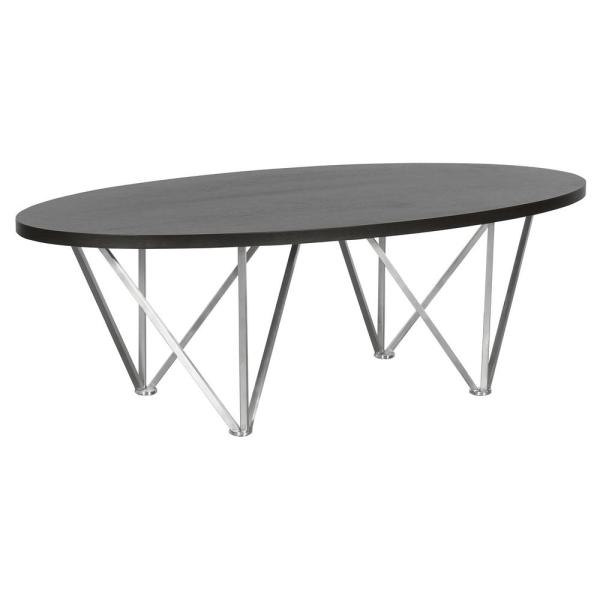 Emerald Armen Living Grey Wood Top Contemporary Oval Coffee Table in Brushed Stainless Steel